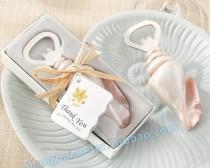wedding photo - Beter Gifts®  SeaShell Bottle Opener Favor Beach Wedding Bomboniere SZ013