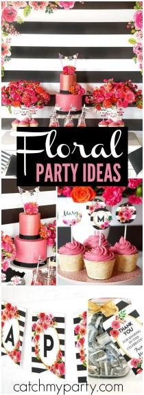 "wedding photo - Black And White Floral Party / Birthday ""Black And White Striped Floral Birthday Party"""