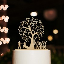 wedding photo - Rustic Wedding Cake Topper-Mr and Mrs Cake Topper-Silhouette Couple Dancing Cake Topper-Cherry Wood Tree Cake Topper-Bride and Groom Topper