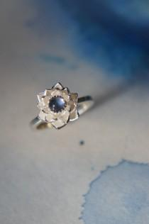 wedding photo - Lotus ring, blue moonstone ring, sterling silver ring, flower ring, engagement ring, proposal ring, promise ring, floral jewelry, romantic