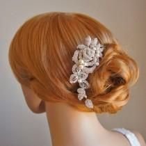 wedding photo - ALCIRA, Bridal Hair Comb, White or Ivory Pearl and Rhinestone Wedding Hair Comb, Vintage Style Rose Flower and Leaf Wedding Hair Accessories