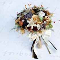 wedding photo - Autumn Wedding Bouquet, Fall Colors, Fall Bridal Bouquet, Gold, Brown, Orange, Dried, Wedding Flower Bouquet, Bride Bouquet, Sola Bouquet