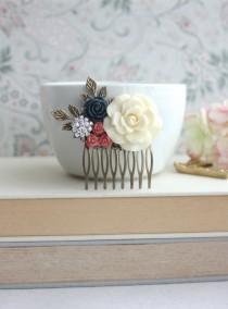 wedding photo - Large Cream Ivory Rose, Coral, Navy Blue, Rhinestone, Diamante, Leaf Sprig Hair Comb. Bridesmaid Gifts. Coral Blue Vintage Inspired Rustic