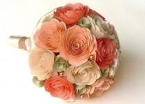 wedding photo - Peach Bouquet, Peach and Sage Wedding, Peach Wedding, Custom Bouquet, Coral Bouquet, Coral Wedding