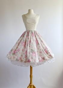 wedding photo - Vintage 1950s Dress ~ Vintage 50s Prom Dress ~ 1950s Party Dress With Rose Print