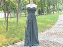 wedding photo - Long Bridesmaid Dress, Grey Bridesmaid Dresses, A-line bridesmaid dress, Grey Sweetheart Chiffon Dress, Prom Dress Long 2015