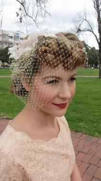 wedding photo - Vintage Inspired Birdcage veil with Beaded Applique