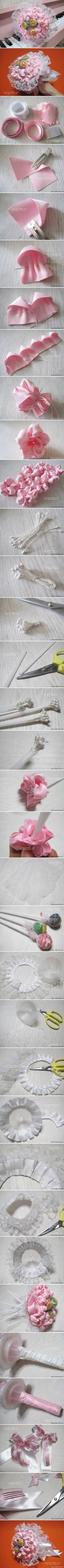 wedding photo - DIY Ribbon And Lace Candy Bouquet DIY Projects