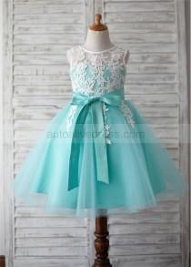 wedding photo - Turquoise Tulle Ivory Lace V Back Knee Length Flower Girl Dress