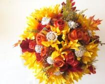 wedding photo - Silk Flowers Fall Wedding Bouquet, Sunflowers, Orange Roses, Autumn Leaves, Brooch Rustic Barn Wedding Flowers Package