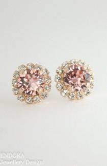 wedding photo - Blush Earrings,blush Bridal Earrings,blush Bridesmaid Earrings,rose Gold Swarovski Blush Crystal Earrings,blush Wedding Jewelry,rose Gold