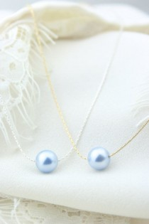 wedding photo - Light Blue Single Pearl Necklace On Sterling Silver Chain - Floating Pearl - Bridesmaid Gift - Gold - Periwinkle - Powder Blue - Baby Blue