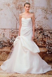 wedding photo - Monique Lhuillier - Fall 2014 - Madison Strapless Pink Silk Trumpet Wedding Dress with a Sweetheart Neckline and Tufted Skirt - Stunning Cheap Wedding Dresses