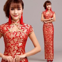 wedding photo - Gold Dragon Red Brocade Long Mandarin Collar Chinese Bridal Dress