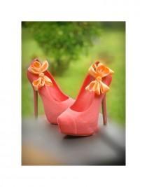 wedding photo - Light Orange Wedding Shoe Clips. Coral Pink Salmon Bow. White Ivory Pearl Rhinestone. Satin Ribbon Red Teal Yellow Blue Purple Emerald Gold