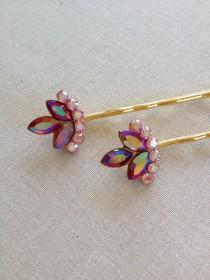 wedding photo - Pink and Red Rhinestone hair pins, set, gift, hair, accessory, rustic, wedding, vintage, rhinestone, red, pink, Siam, gold, bridesmaid, hair
