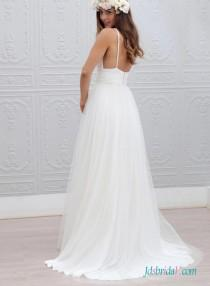 wedding photo - Sexy backless plunging tulle boho wedding dress for destination