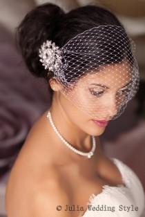 wedding photo - Bridal Veil and Bridal Comb, Bandeau Birdcage Veil, Blusher Bird Cage Veil, Rhinestone Fascinator Comb.