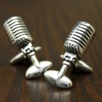 wedding photo - Retro 50s Radio Microphone Cufflinks, Sterling Silver, Handmade