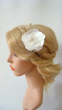 wedding photo - Birdcage Veil, Wedding Veil, Flower Hair Clip, Bird Cage Veil, Bandeau Birdcage, Flower Fascinator, 2 Pieces Set, Detachable Bridal Veil