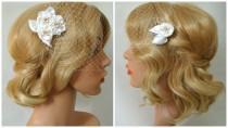 wedding photo - Birdcage Veil Flower Hair Clip, Bandeau Birdcage Veil with Flower Fascinator, 3 Pieces Set, Detachable Veil