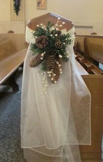 wedding photo - Pew Swag With Ivory Organza, Pinecones, Pine Greens