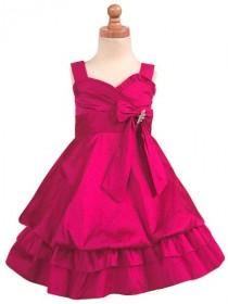 wedding photo - Fuchsia Flower Girl Dress - Taffeta Bubble Layered Dress Style: D2960 - Charming Wedding Party Dresses