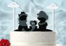 wedding photo - Mario and Peach with cute Clouds Inspired Wedding Cake Topper