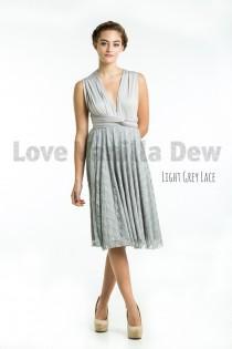 wedding photo - Bridesmaid Dress Infinity Dress Light Grey Lace Knee Length Wrap Convertible Dress Wedding Dress