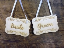 wedding photo - 2 Bride Groom Chair Signs Rustic Wedding Chair Decor Set Of 2 Photo Props Engraved Wooden Hangers With White Ribbon Mr And Mrs Signs
