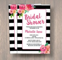 wedding photo - Black & White Bridal Shower Invitation, Watercolor Flowers Wedding, Bridal Shower Invitation