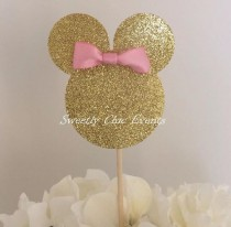 wedding photo - Set Of 10 Gold Minnie Mouse Silhouette Cupcake Toppers