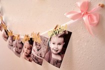 wedding photo - Pink And Gold First Birthday Decorations. Ready To Ship. 12 Month Photo Banner. First Birthday Garland