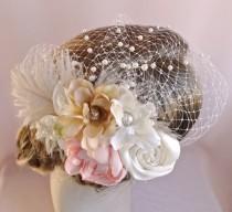 wedding photo - Birdcage veil with flowers, flower headpiece, bridal hair accessory, wedding veil,  bridal veil pearls, pink champagne,  Style 806
