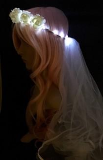 wedding photo - Mini Rose Bridal Veil LED Flower Crown, perfect for bachelorette parties, festival weddings, night ceremonies, wedding receptions,
