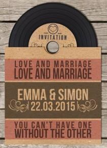 wedding photo - Vinyl Retro Vintage CD Wedding Invitation
