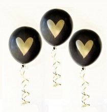 wedding photo - Bridal Shower Balloons (6ct) - Gold Heart Balloons, Wedding Balloons, Gold Metallic Balloon, Bachelorette Party Decor (EB3110HRT)