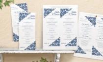 wedding photo - DiY Rustic Wedding Program Template - DOWNLOAD Instantly - EDITABLE TEXT - Vintage Lace (Light Navy) Tea Length - Microsoft® Word Format