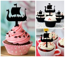 wedding photo - Ca220 New Arrival 10 pcs/Decorations Cupcake Topper/ viking boat /Wedding/Silhouette/ Props/Party/Food & drink/Vintage/Fun/Shop/Birthday