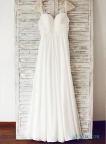 wedding photo - Elegant simple sweetheart neck chiffon a line wedding dress