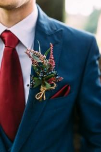 8d2ba07b34be Autumnal Ufton Court Wedding - Benjamin Stuart Photography. A classic blue  three piece suit with dark red tie and pocket square ...