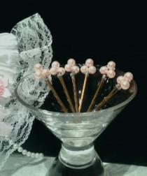 wedding photo - Light Pink Pearl Hair Pins, Bridal Hair Pins, Bridal Hair Accessory, Wedding, Engagement