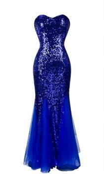 wedding photo - Sweetheart Royal Blue  sequins Lace up Long Evening Dress, Prom Dress Long Royal Blue Party Dress Bridesmaid Dress with Bling sequins
