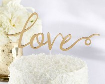 wedding photo - Gold Love Cake Topper, Wedding Cake Topper, Classic Wedding Cake Topper, Gold Cake Topper