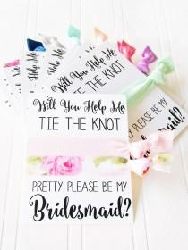 wedding photo - Bridesmaid Proposal Card, Will You help Me tie the knot , Maid of honor, Matron of Honor, Flower Girl, hair ties to have and to hold