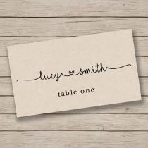 wedding photo - Printable Escort Card Template - Place Card Template - Tent Placecards - Rustic Place Cards - YOU EDIT in WORD - Print on Kraft