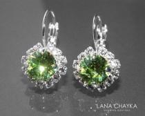 wedding photo - Peridot Green Halo Crystal Earrings Swarovski Light Green Rhinestone Earrings Hypoallergenic Leverback Earrings Green Bridesmaid Jewelry