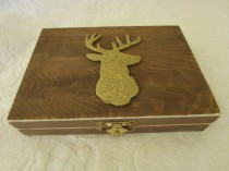 wedding photo - Bohemian Rustic Stained Aged Woodland Deer His Hers Divided Wedding Ring Bearers Box