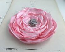 wedding photo - Light Pink Flower Hair Clip.brooch.pin.Bridesmaid.satin flower.Wedding.Corsage.pastel pink.hair accessory.peony pink.petal pink.fascinator