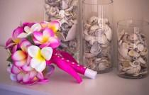 wedding photo - Pink Frangipani Plumeria Posy Bouquet Real-Touch Destination Wedding